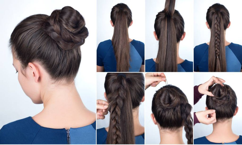 Braided Top Knot Bun Hairstyle